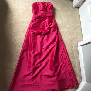 Strapless hot pink prom dress